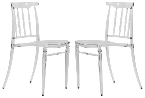 Design Edge Guyra 2  Clear Transparent Modern Lucite Dining Chairs DE-22820252