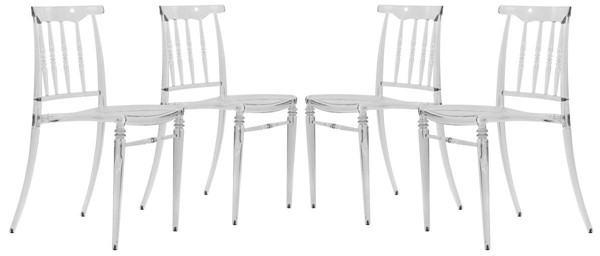 4 LeisureMod Spindle Clear Transparent Modern Lucite Dining Chairs LSM-SC19CL4