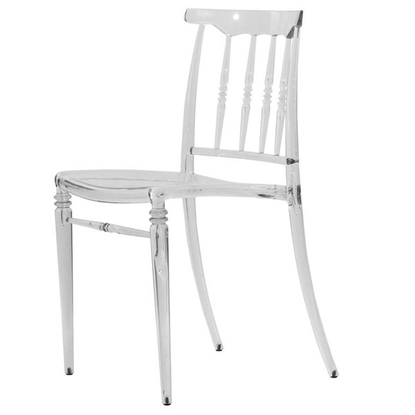 LeisureMod Spindle Clear Lucite Dining Chair LSM-SC19CL