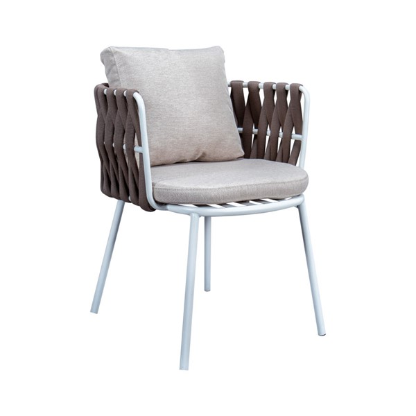 LeisureMod Spencer Brown Olefin Rope Outdoor Patio Dining Chair with Cushion LSM-SC23BR
