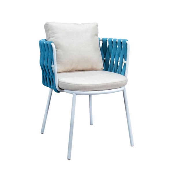 LeisureMod Spencer Blue Olefin Rope Outdoor Patio Dining Chair with Cushion LSM-SC23BU