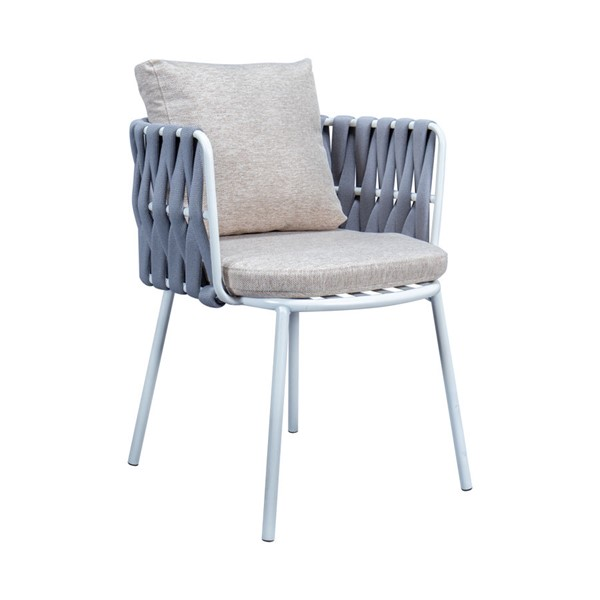 LeisureMod Spencer Light Grey Olefin Rope Outdoor Patio Dining Chair with Cushion LSM-SC23LGR