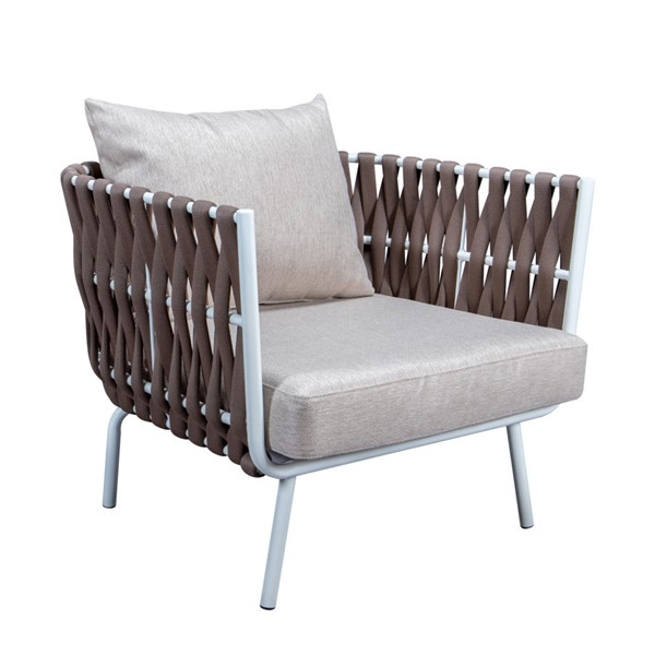 LeisureMod Spencer Brown Olefin Rope Outdoor Club Chairs with Cushions LSM-SC64BR