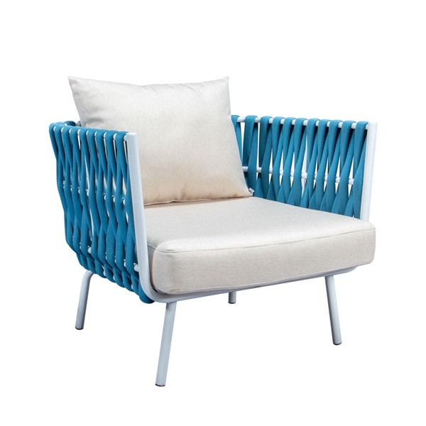 LeisureMod Spencer Blue Olefin Rope Outdoor Club Chairs with Cushions LSM-SC64BU