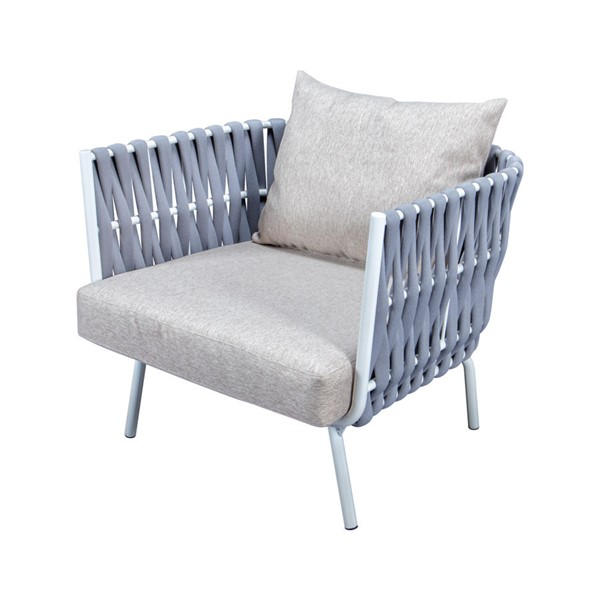 LeisureMod Spencer Light Grey Olefin Rope Outdoor Club Chairs with Cushions LSM-SC64LGR