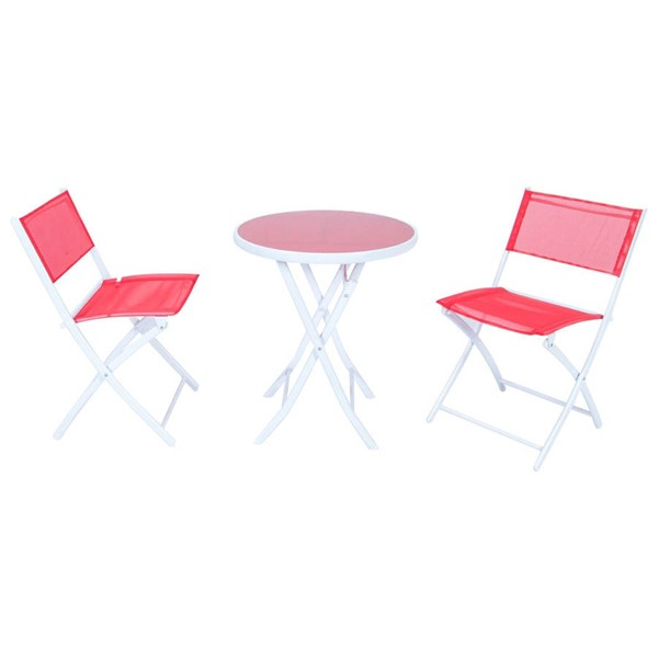 Design Edge Coonabarabran  Red Folding Table and Chairs Set DE-23417153