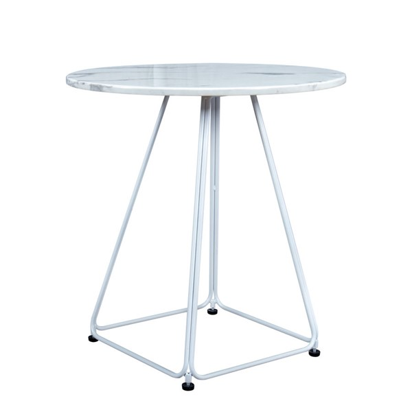 LeisureMod Spencer White Marble Outdoor Patio Bistro Table LSM-ST23W
