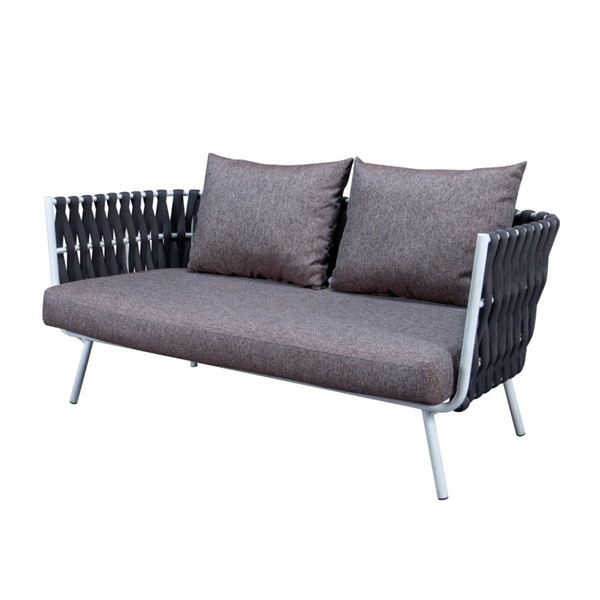 LeisureMod Spencer Olefin Rope Outdoor Loveseats with Cushions LSM-SL64BL-OUTDOOR-LS-VAR