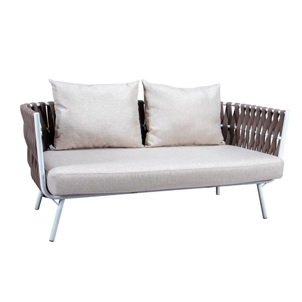 LeisureMod Spencer Brown Olefin Rope Outdoor Loveseat with Cushion LSM-SL64BR