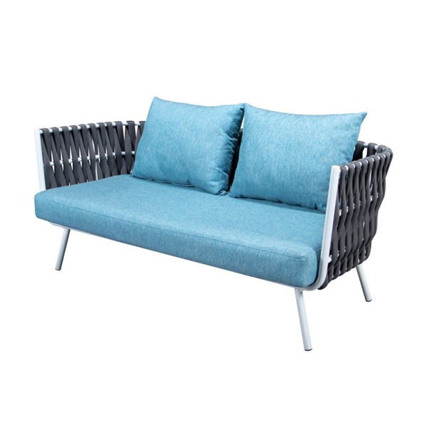 LeisureMod Spencer Grey Olefin Rope Outdoor Loveseat with Cushion LSM-SL64GR