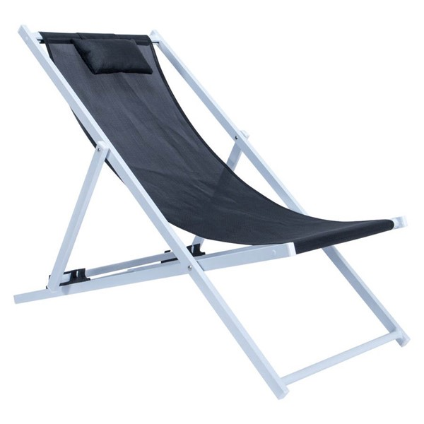 Design Edge Harden  Black Sling Lounge Chair With Headrest DE-23417066