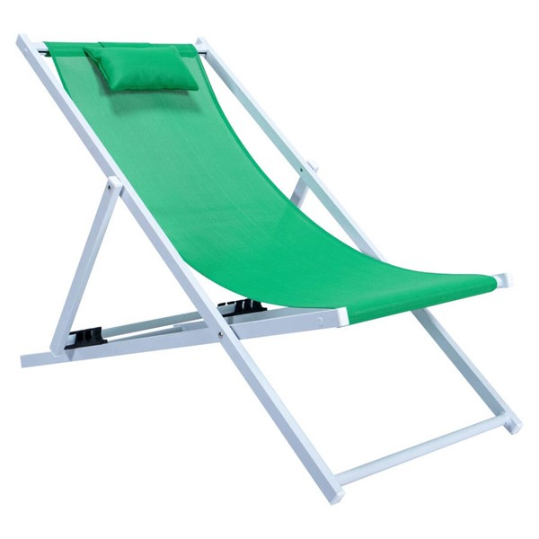 LeisureMod Sunset Green Sling Lounge Chair With Headrest LSM-SLC22G