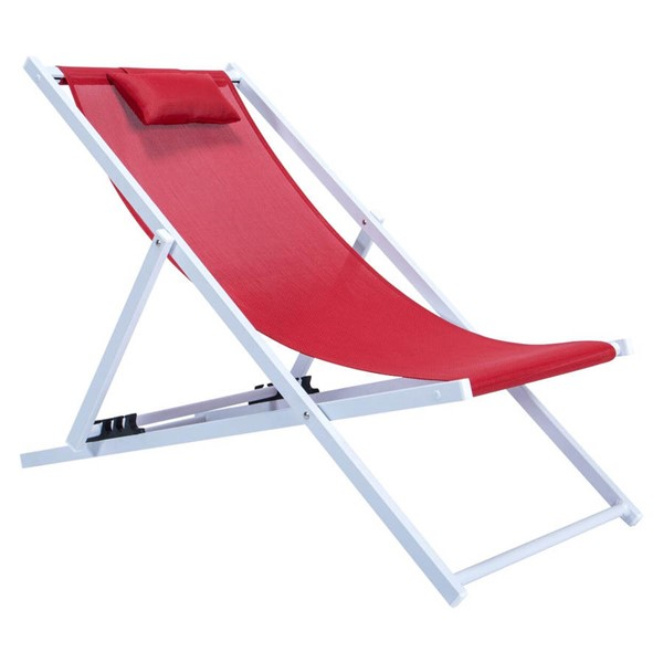 LeisureMod Sunset Red Sling Lounge Chair With Headrest LSM-SLC22R