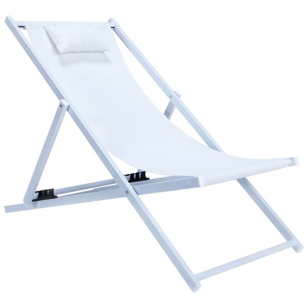 LeisureMod Sunset White Sling Lounge Chair With Headrest LSM-SLC22W