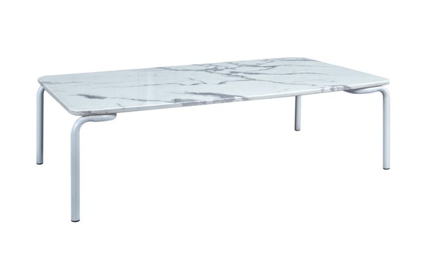 LeisureMod Spencer White Marble Outdoor Patio Coffee Table LSM-ST64W