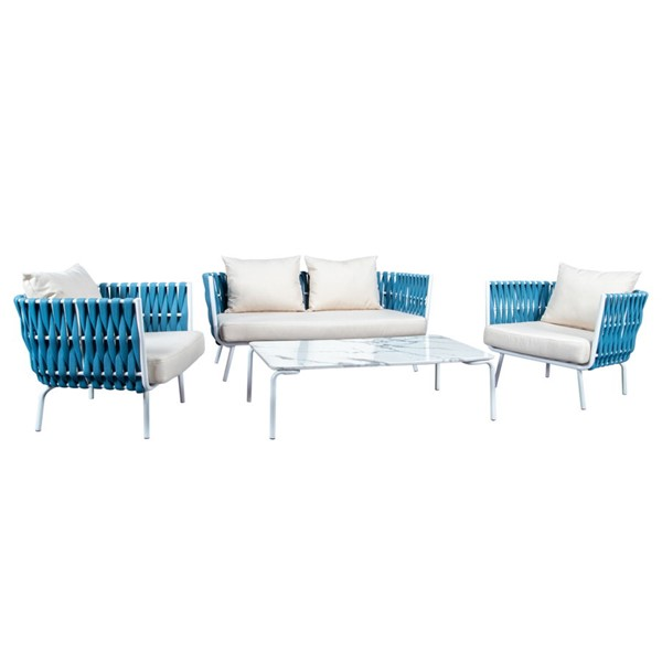 LeisureMod Spencer Blue Olefin Rope 4pc Outdoor Conversation Set LSM-SLT64BU