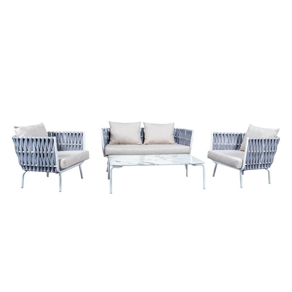 LeisureMod Spencer Light Grey Olefin Rope 4pc Outdoor Conversation Set LSM-SLT64LGR