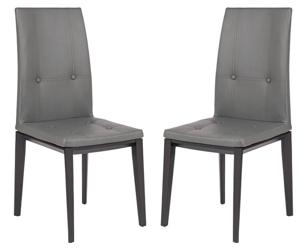 Design Edge Gunning 2  Grey Faux Leather Dining Chairs DE-22370828