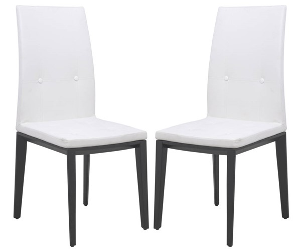 2 LeisureMod Somers White Faux Leather Dining Chairs LSM-SV17WL2