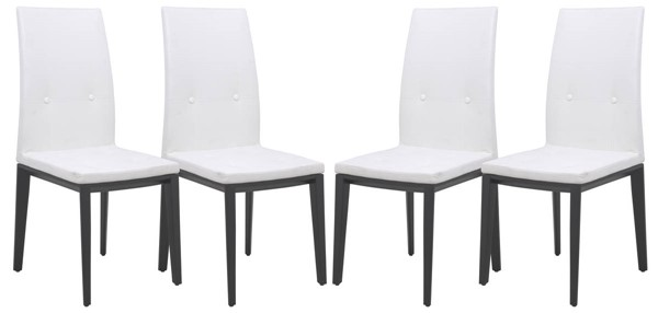 Design Edge Gunning 4  White Faux Leather Dining Chairs DE-22820228