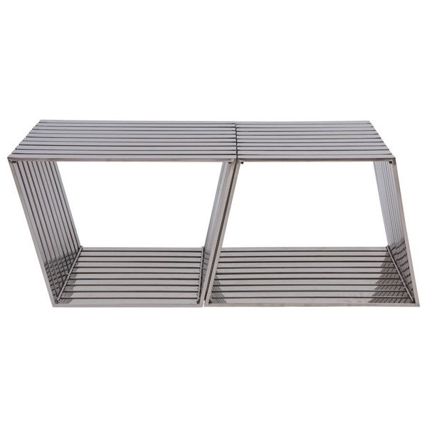 2 LeisureMod Silver Stainless Steel Trapezium Benches LSM-TZB21SS2