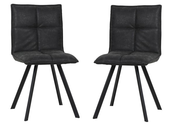 2 LeisureMod Wesley Charcoal Black Leather Dining Chairs LSM-WC18BL2