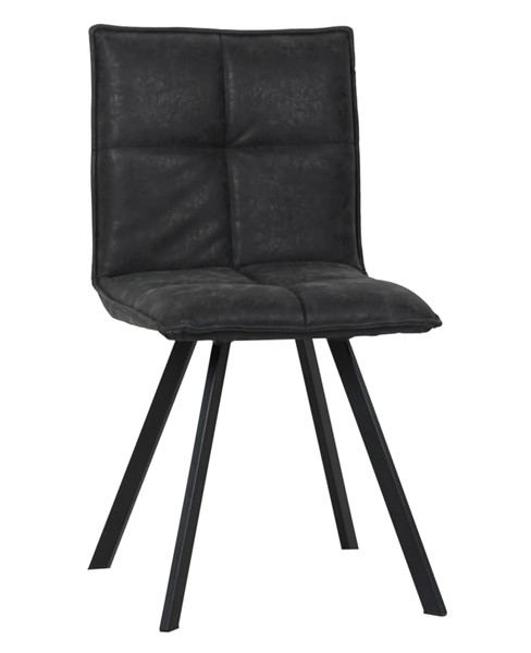 LeisureMod Wesley Charcoal Black Leather Dining Chair LSM-WC18BL