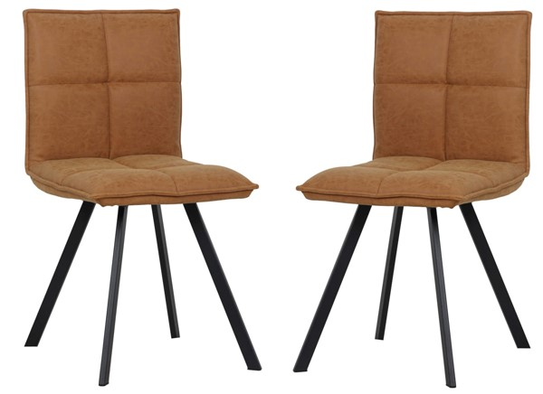 2 LeisureMod Wesley Light Brown Leather Dining Chairs LSM-WC18BR2