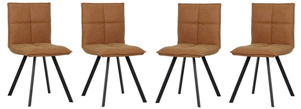 4 LeisureMod Wesley Light Brown Leather Dining Chairs LSM-WC18BR4