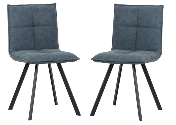 2 LeisureMod Wesley Peacock Blue Leather Dining Chairs LSM-WC18BU2