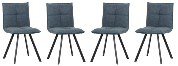 4 LeisureMod Wesley Peacock Blue Leather Dining Chairs LSM-WC18BU4