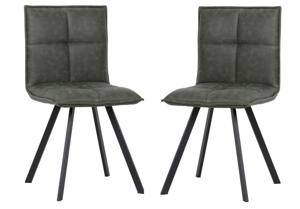 2 LeisureMod Wesley Olive Green Leather Dining Chairs LSM-WC18G2