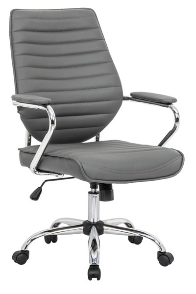 Design Edge Holbrook  Grey Leather Office Chair DE-22994764