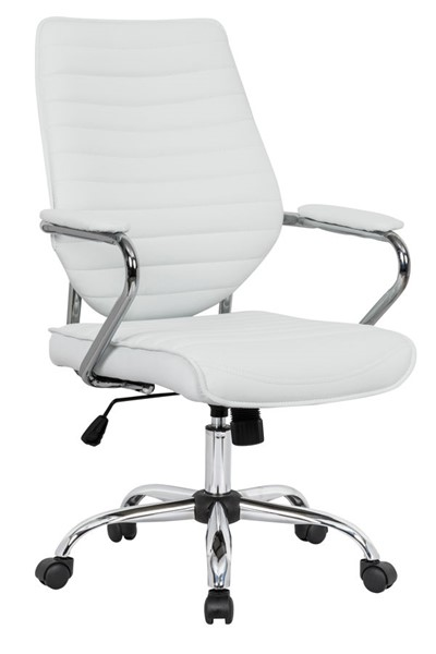 LeisureMod Winchester Home White Leather Office Chair LSM-WO19WL