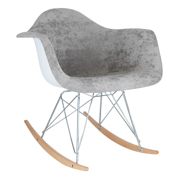 LeisureMod Wilson Cloudy Gray Velvet Rocking Chair LSM-WR25VGR