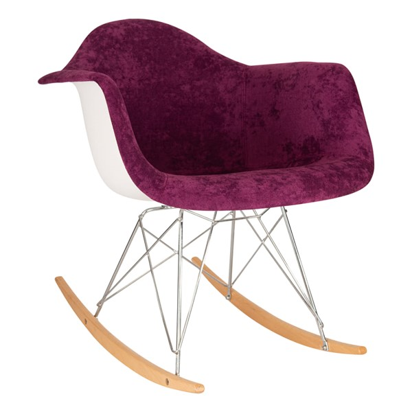 LeisureMod Wilson Purple Velvet Rocking Chair LSM-WR25VPR