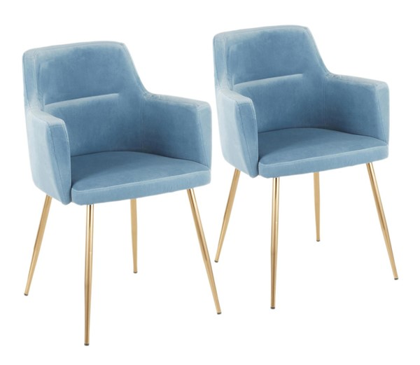 2 Lumisource Andrew Gold Light Blue Chairs LUMI-CH-ANDRW-AUVBU2