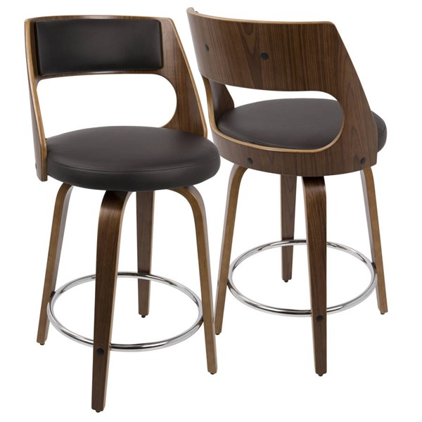 2 Lumisource Cecina Walnut Brown 24 Inch Counter Stools LUMI-B24-CECINAR-WLBN2