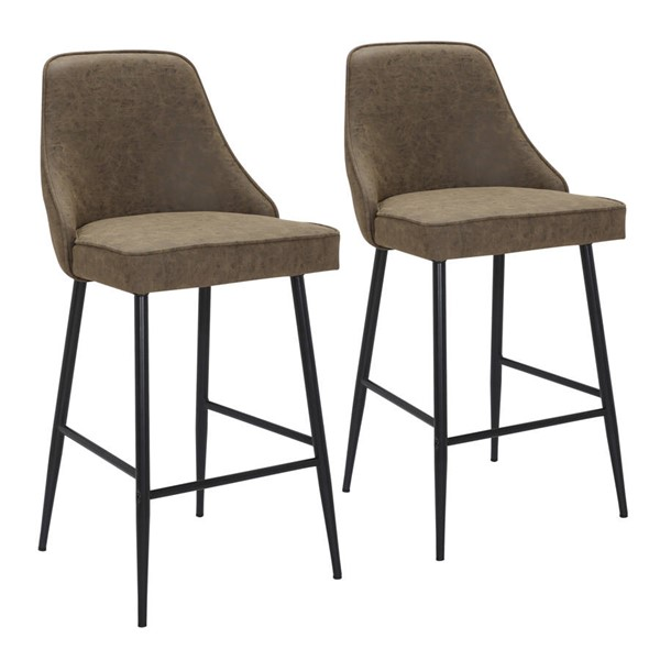 2 Lumisource Marcel Black Brown Leather Counter Stools LUMI-B25-MARCEL-BKBN2