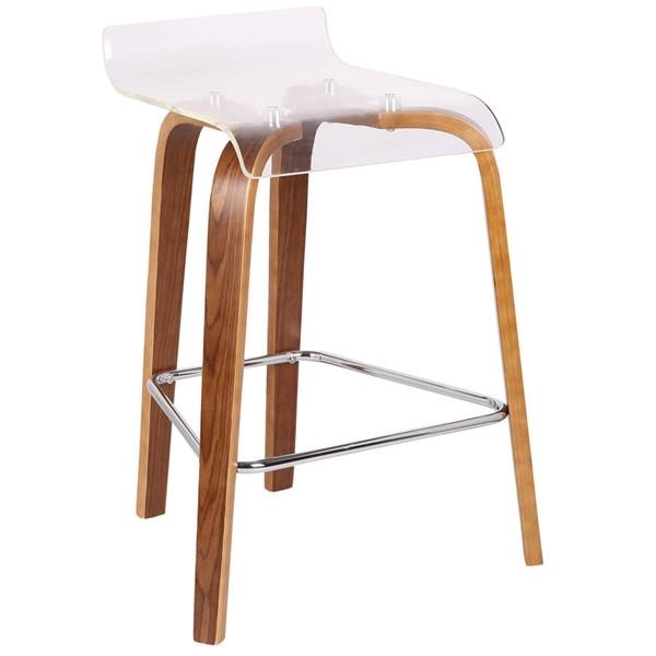 Lumisource Clarity Walnut Clear Counter Stool LUMI-B26-CLRT-WL-CL