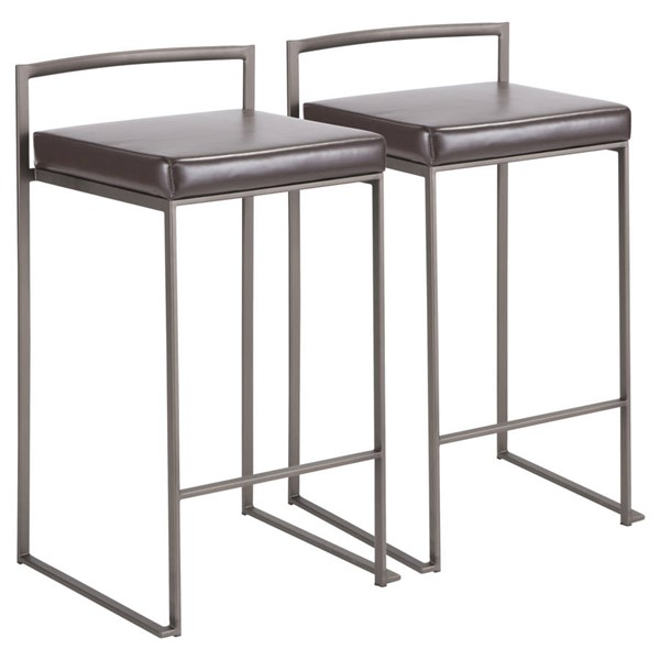 2 Lumisource Fuji Antique Brown Leather Stacker Counter Stools LUMI-B26-FUJI-AN-BN2