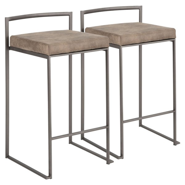2 Lumisource Fuji Antique Brown Stacker Counter Stools LUMI-B26-FUJI-ANFBN2