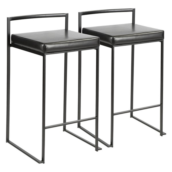 2 Lumisource Fuji Black PU Counter Stools LUMI-B26-FUJI-BK-BK2