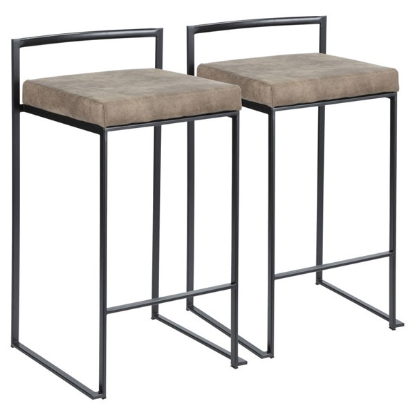 2 Lumisource Fuji Black Brown Counter Stools LUMI-B26-FUJI-BKFBN2