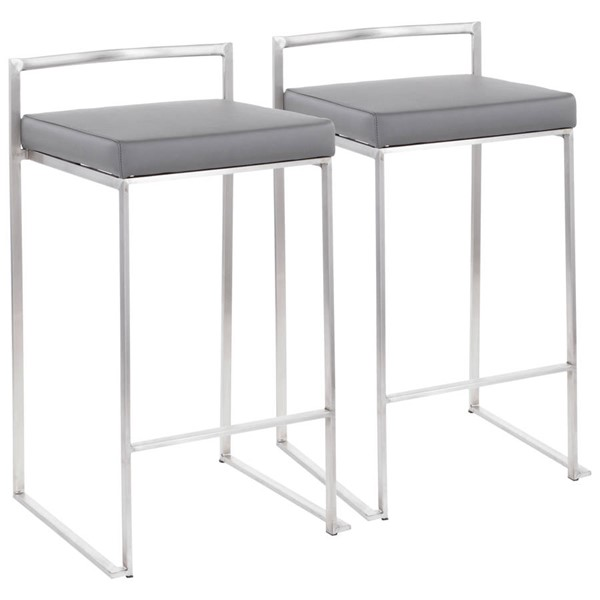 2 Lumisource Fuji Brushed Grey Stacker Counter Stools LUMI-B26-FUJI-GY2