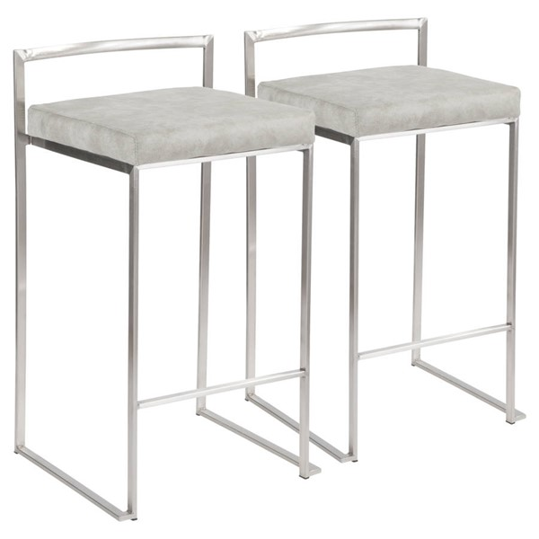 2 Lumisource Fuji Light Grey Counter Stools LUMI-B26-FUJI-LGY2