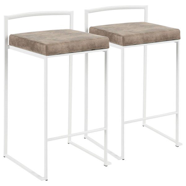 2 Lumisource Fuji White Brown Fabric Counter Stools LUMI-B26-FUJI-W-FBN2