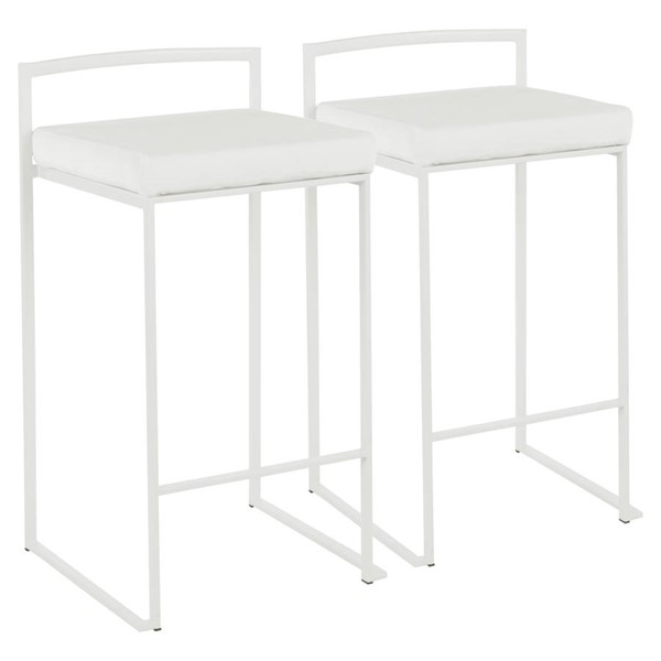 2 Lumisource Fuji White Stacker Counter Stools LUMI-B26-FUJI-W-VW2