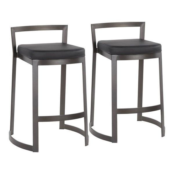 2 Lumisource Fuji Antique Black PU Leather DLX Counter Stools LUMI-B28-FUJDX-ANBK2