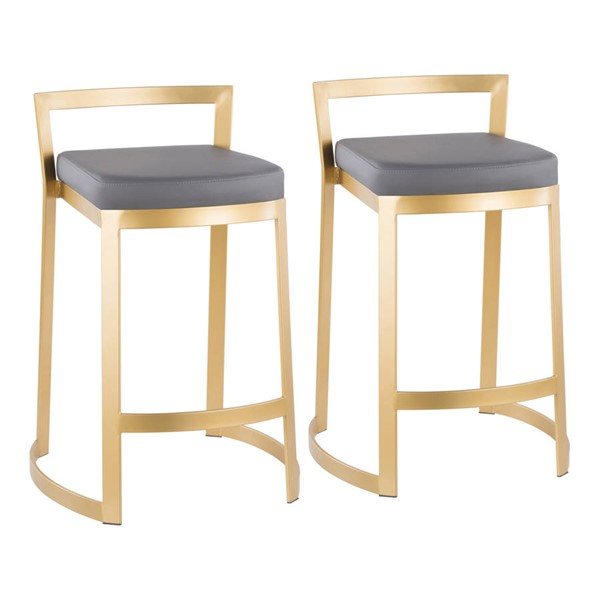 2 Lumisource Fuji Gold Grey Leather Counter Stools LUMI-B28-FUJDX-AUGY